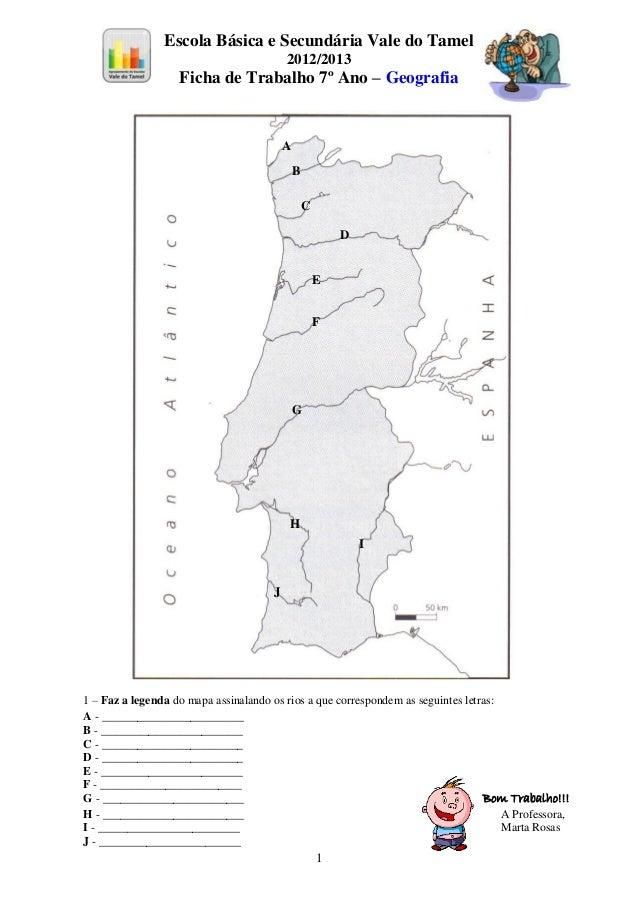 mapa rios portugal Rios portugueses fichatrabalho mapa rios portugal