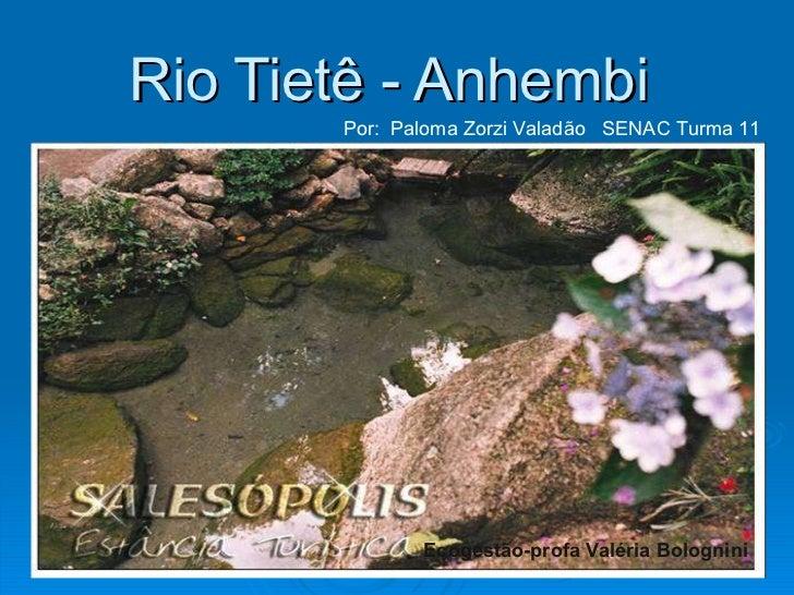 Rio Tietê - Anhembi  Por:  Paloma Zorzi Valadão  SENAC Turma 11 Ecogestão-profa Valéria Bolognini
