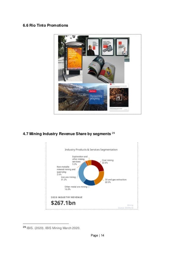 Page   14 6.6 Rio Tinto Promotions 4.7 Mining Industry Revenue Share by segments 29 29 IBIS. (2020). IBIS Mining March 202...