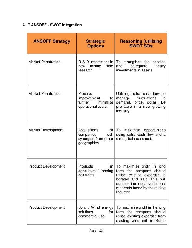 Page   22 4.17 ANSOFF - SWOT Integration ANSOFF Strategy Strategic Options Reasoning (utilising SWOT SOs Market Penetratio...