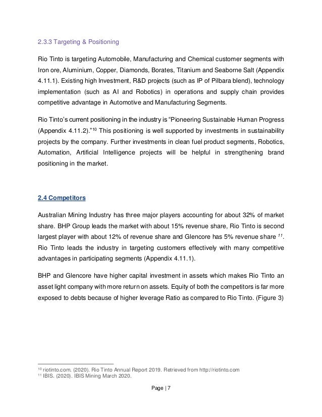 Page   7 2.3.3 Targeting & Positioning Rio Tinto is targeting Automobile, Manufacturing and Chemical customer segments wit...