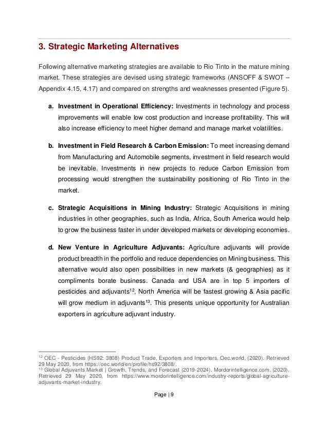 Page   9 3. Strategic Marketing Alternatives Following alternative marketing strategies are available to Rio Tinto in the ...