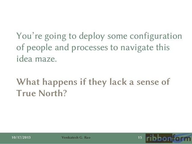 You're going to deploy some configuration of people and processes to navigate this idea maze. What happens if they lack a ...