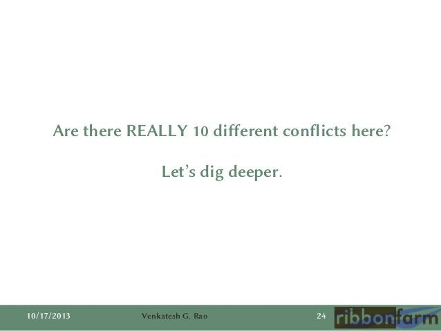 Are there REALLY 10 different conflicts here?  Let's dig deeper.  10/17/2013  Venkatesh G. Rao  24