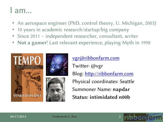 I am... • • • •  An aerospace engineer (PhD, control theory, U. Michigan, 2003) 10 years in academic research/startup/big ...
