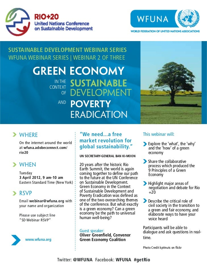 SUSTAINABLE DEVELOPMENT WEBINAR SERIESWFUNA WEBINAR SERIES | WEBINAR 2 OF THREE           green economY                   ...