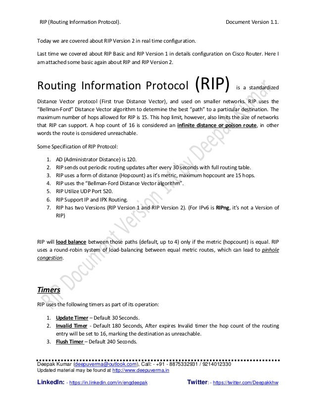 RIP (Routing Information Protocol). Document Version 1.1. Deepak Kumar (deepuverma@outlook.com), Call: - +91 - 8875332931 ...