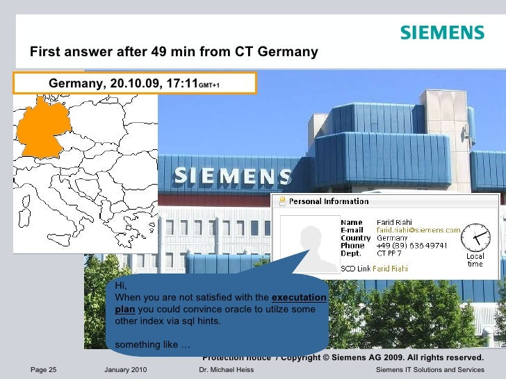First answer after 49 min from CT Germany Germany, 20.10.09, 17:11 GMT+1  Hi, When you are not satisfied with the  executa...