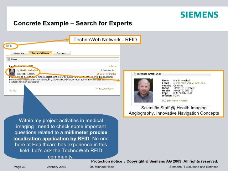 Concrete Example – Search for Experts Within my project activities in medical imaging I need to check some important quest...