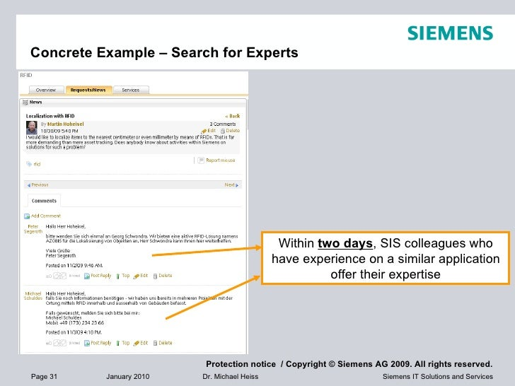 Concrete Example – Search for Experts Within  two days , SIS colleagues who have experience on a similar application offer...