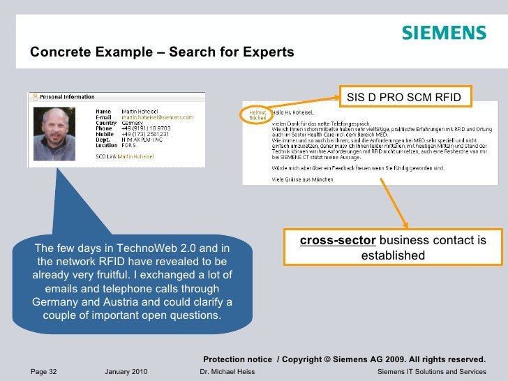 Concrete Example – Search for Experts The few days in TechnoWeb 2.0 and in the network RFID have revealed to be already ve...
