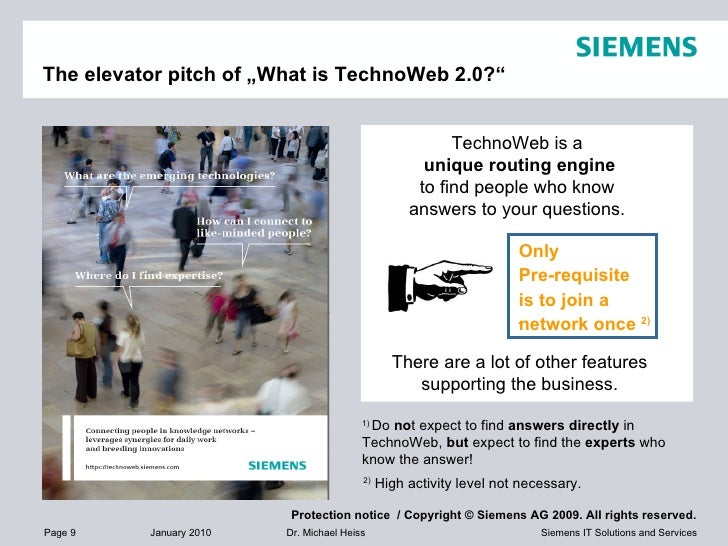 """The elevator pitch of """"What is TechnoWeb 2.0?"""" 1)  Do  no t expect to find  answers directly  in TechnoWeb,  but  expect t..."""
