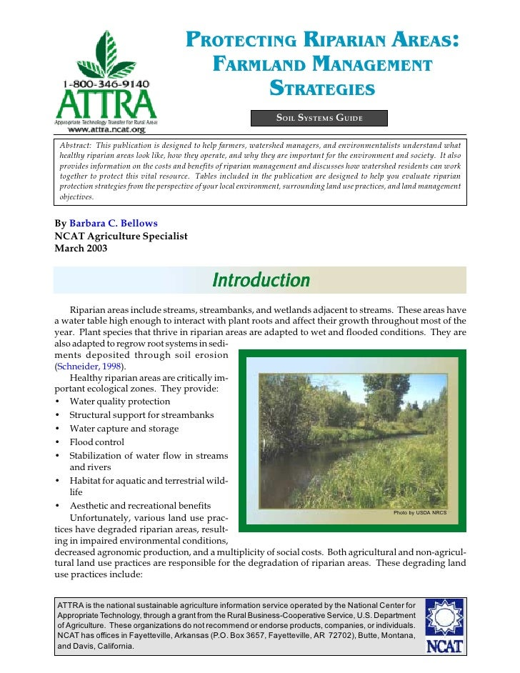 PROTECTING RIPARIAN AREAS:                                        FARMLAND MANAGEMENT                                     ...