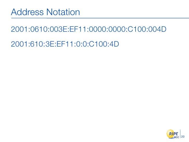 Address Notation 2001:0610:003E:EF11:0000:0000:C100:004D 2001:610:3E:EF11:0:0:C100:4D                                     ...