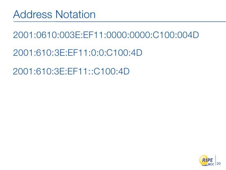 Address Notation 2001:0610:003E:EF11:0000:0000:C100:004D 2001:610:3E:EF11:0:0:C100:4D  2001:610:3E:EF11::C100:4D          ...