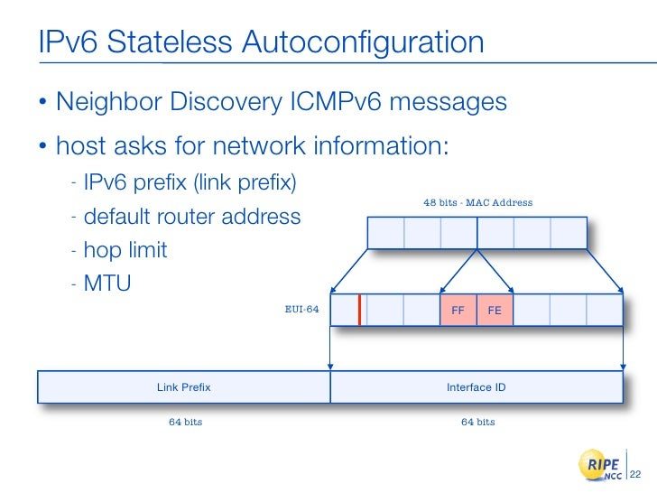 IPv6 Stateless Autoconfiguration •   Neighbor Discovery ICMPv6 messages •   host asks for network information:      - IPv6 ...