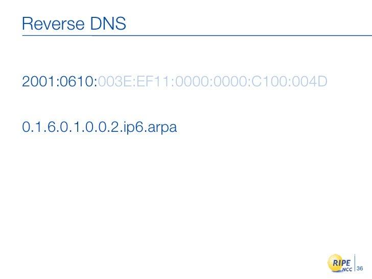 Reverse DNS   2001:0610:003E:EF11:0000:0000:C100:004D  0.1.6.0.1.0.0.2.ip6.arpa                                           ...