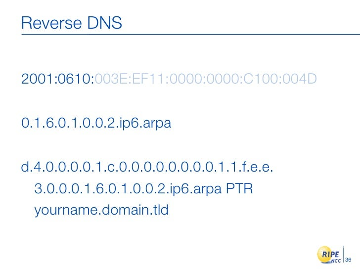 Reverse DNS   2001:0610:003E:EF11:0000:0000:C100:004D  0.1.6.0.1.0.0.2.ip6.arpa  d.4.0.0.0.0.1.c.0.0.0.0.0.0.0.0.1.1.f.e.e...