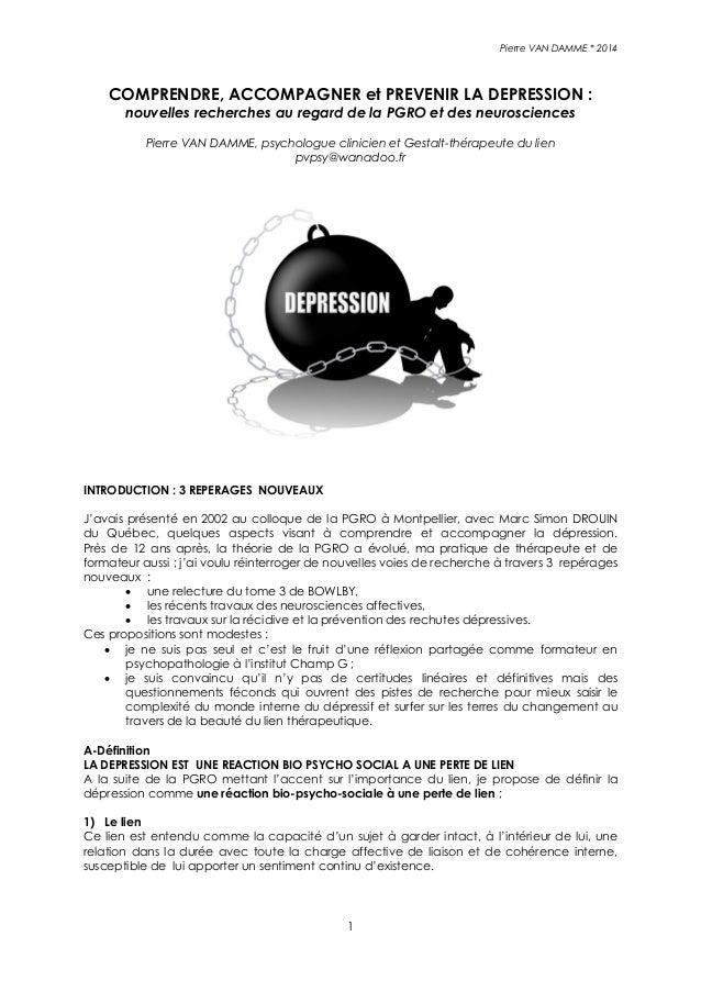 Pierre VAN DAMME * 2014 1 COMPRENDRE, ACCOMPAGNER et PREVENIR LA DEPRESSION : nouvelles recherches au regard de la PGRO et...