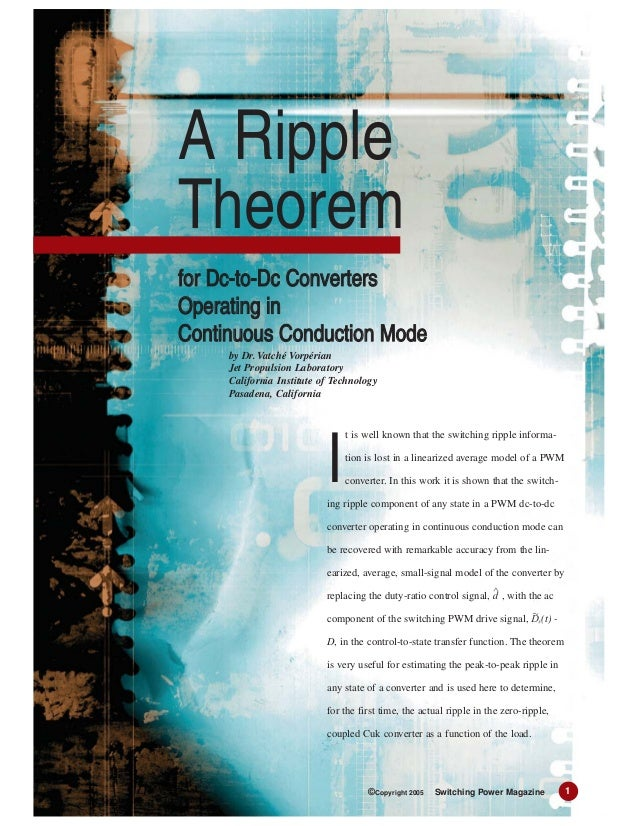 t is well known that the switching ripple informa-tion is lost in a linearized average model of a PWMconverter. In this wo...