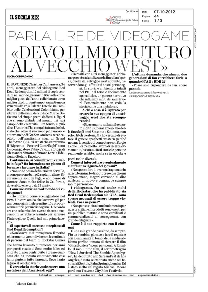 Quotidiano                              www.ecostampa.it                              067398Palazzo Ducale