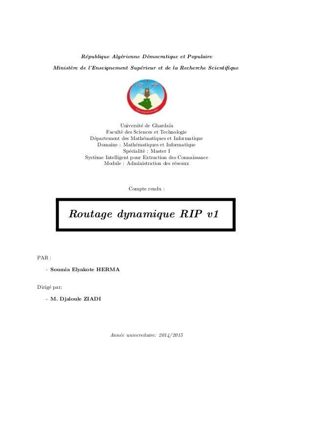 R´epublique Alg´erienne D´emocratique et Populaire Minist`ere de l'Enseignement Sup´erieur et de la Recherche Scientifique ...