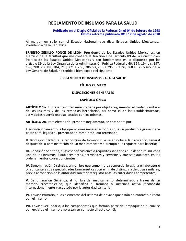 REGLAMENTO DE INSUMOS PARA LA SALUD                   Publicado en el Diario Oficial de la Federación el 04 de febrero de ...