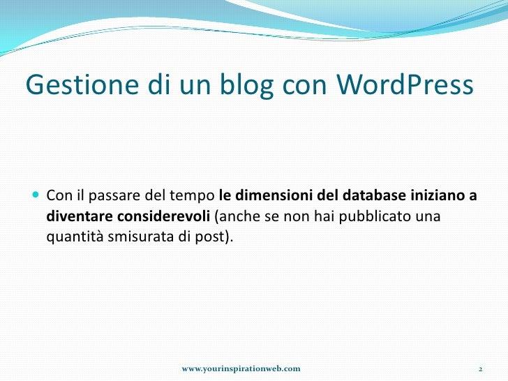 Ripulire il database di word press dal materiale inutile Slide 2