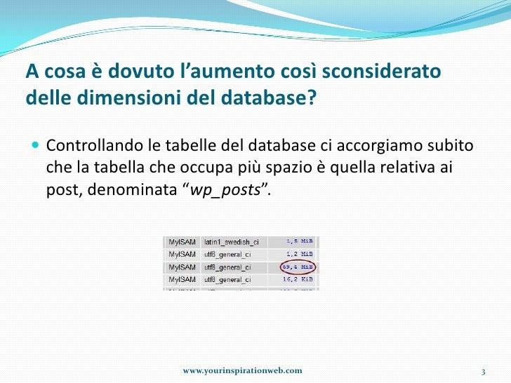 Ripulire il database di word press dal materiale inutile Slide 3