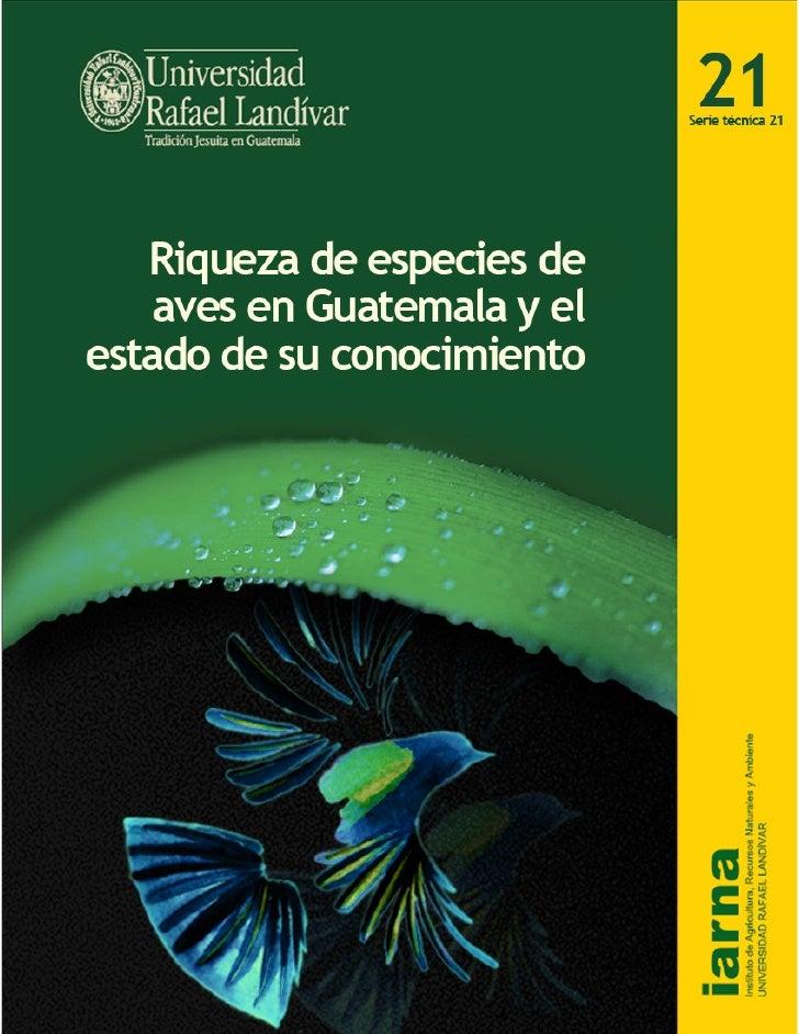 Riqueza de especies de aves en Guatemala                                                                                  ...