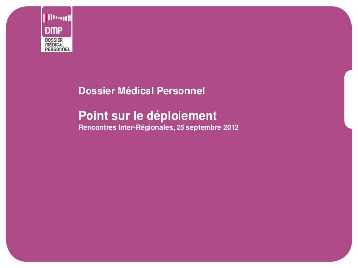 Dossier Médical PersonnelPoint sur le déploiementRencontres Inter-Régionales, 25 septembre 2012