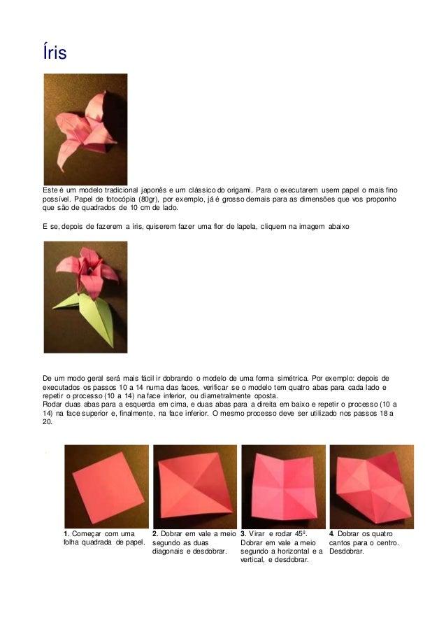 Íris Este é um modelo tradicional japonês e um clássico do origami. Para o executarem usem papel o mais fino possível. Pap...