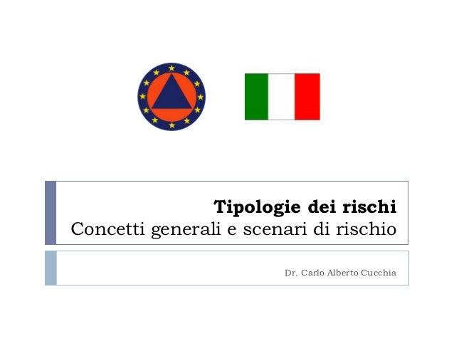 Tipologie dei rischiConcetti generali e scenari di rischio                        Dr. Carlo Alberto Cucchia