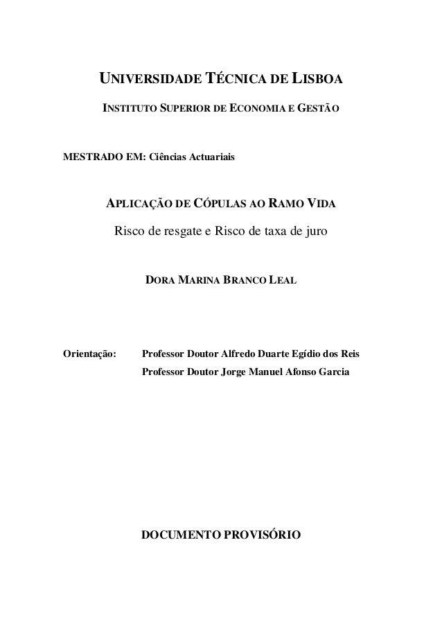UNIVERSIDADE TÉCNICA DE LISBOA INSTITUTO SUPERIOR DE ECONOMIA E GESTÃO MESTRADO EM: Ciências Actuariais APLICAÇÃO DE CÓPUL...