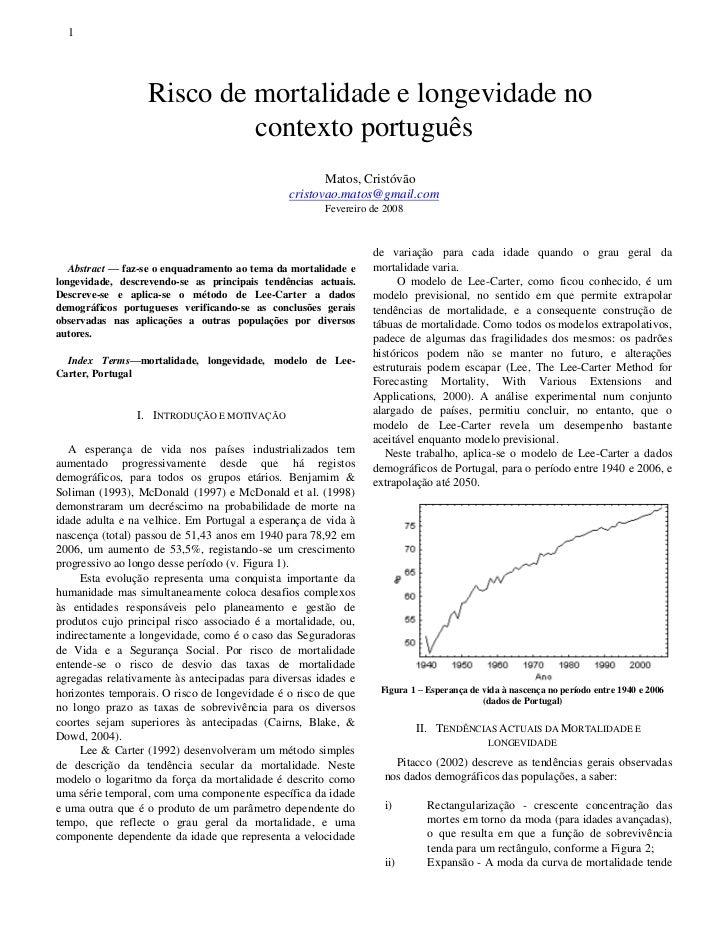 1                  Risco de mortalidade e longevidade no                           contexto português                     ...