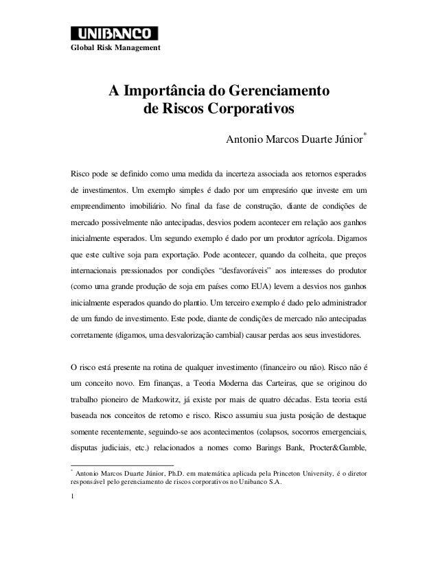 Global Risk Management            A Importância do Gerenciamento                de Riscos Corporativos                    ...