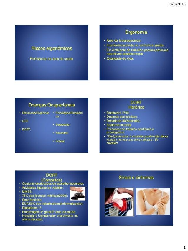 18/3/2013 1 Riscos ergonômicos Profissional da área de saúde Ergonomia • Área da biossegurança; • Interferência direta no ...