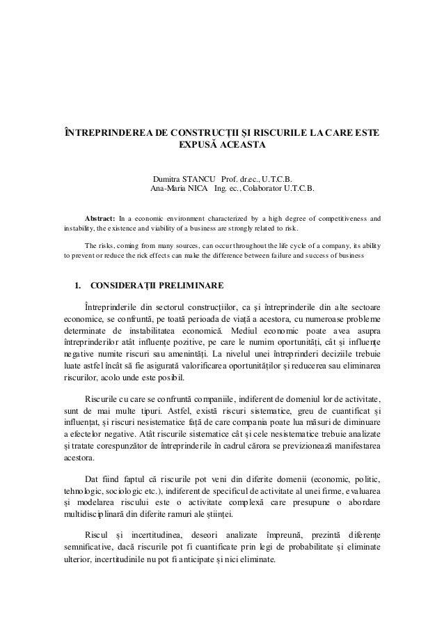 ÎNTREPRINDEREA DE CONSTRUCȚII ȘI RISCURILE LA CARE ESTE EXPUSĂ ACEASTA  Dumitra STANCU Prof. dr.ec., U.T.C.B.  Ana-Maria N...