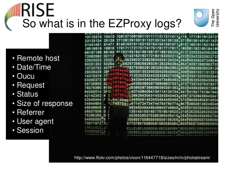 So what is in the EZProxy logs?• Remote host• Date/Time• Oucu• Request• Status• Size of response• Referrer• User agent• Se...