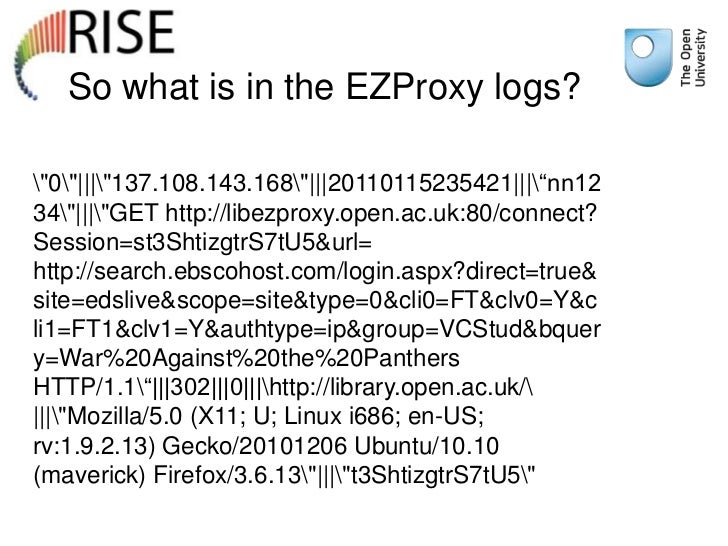 "So what is in the EZProxy logs?""0""|||""137.108.143.168""|||20110115235421|||""nn1234""|||""GET http://libezproxy.open.ac.uk:80/..."