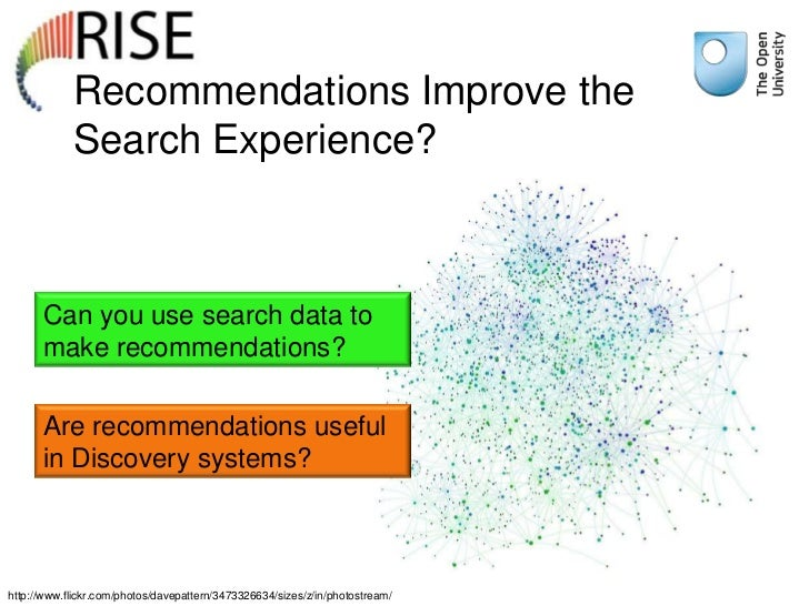 Recommendations Improve the            Search Experience?      Can you use search data to      make recommendations?      ...