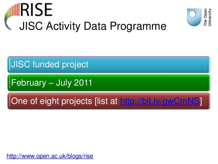 JISC Activity Data Programme JISC funded project February – July 2011 One of eight projects [list at http://bit.ly/gwCmNS]...