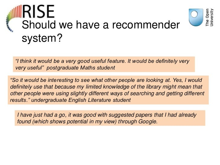 """Should we have a recommender    system?  """"I think it would be a very good useful feature. It would be definitely very  ver..."""
