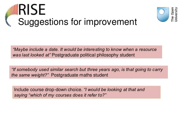 """Suggestions for improvement""""Maybe include a date. It would be interesting to know when a resourcewas last looked at"""" Postg..."""