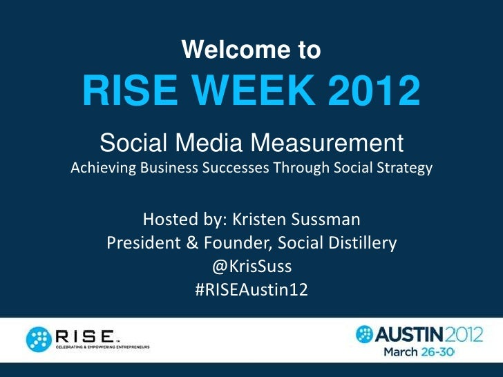 Welcome to RISE WEEK 2012    Social Media MeasurementAchieving Business Successes Through Social Strategy          Hosted ...