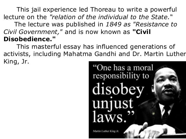 resistance to civil government thesis Thoreau, emerson, and transcendentalism the lecture was published under the title resistance to civil government in thoreau opens civil disobedience with.