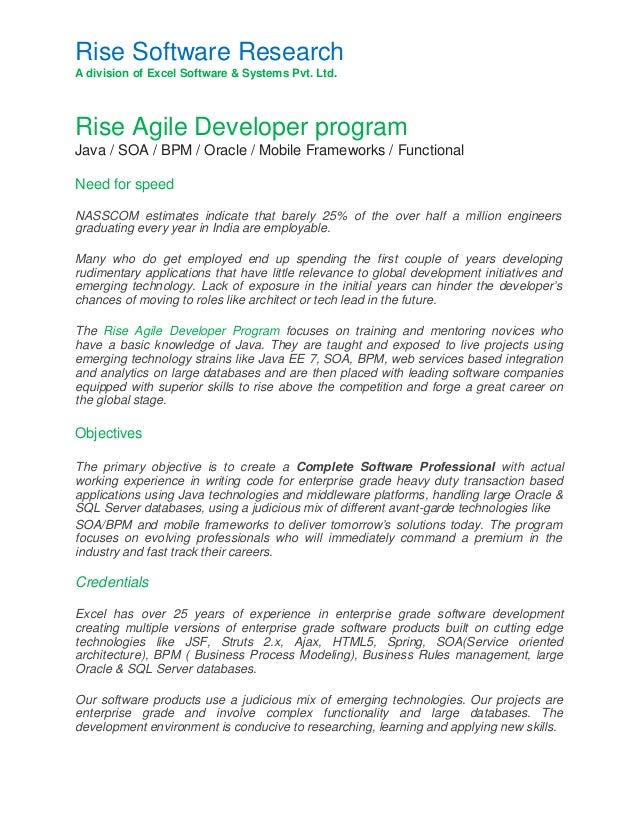 java oracle developer  rise agile program  for software