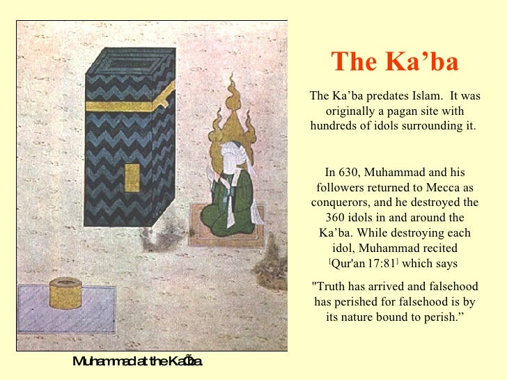 Muhammad at the Ka'ba. The Ka'ba predates Islam.  It was originally a pagan site with hundreds of idols surrounding it.  I...