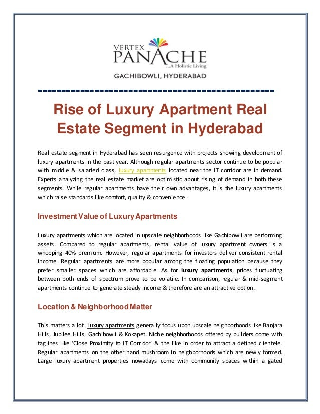 Rise Of Luxury Apartment Real Estate Segment In Hyderabad