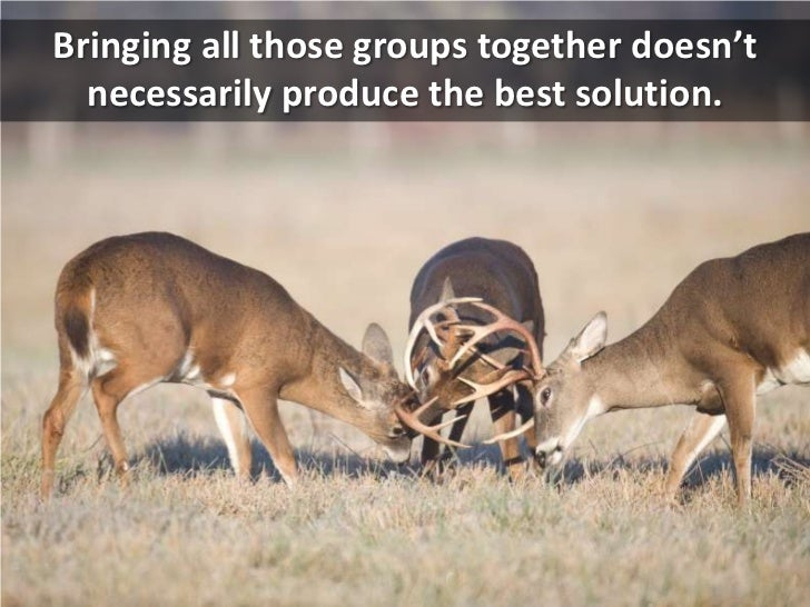 Bringing all those groups together doesn't necessarily produce the best solution.<br />